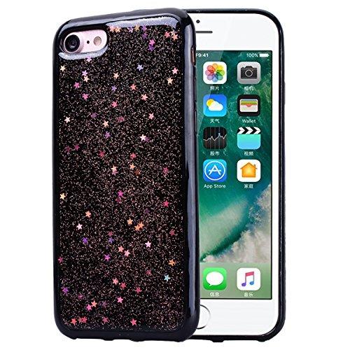 Cover per iPhone 7 Plus / iPhone 8 Plus, VemMore Custodia in Morbido Nero Silicone TPU Case con Stella Scintillante Glitter Pattern Designo Backcase Caso di Ultra Sottile Bling Brillante Paraurti Luss Rosa