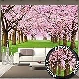 great-art Fototapete Kirschblüten Wandbild Dekoration Blumen Frühling Garten Pflanzen Walt Park Natur Cherry Tree Kirschblütenbaum Allee | Foto-Tapete Wandtapete Fotoposter Wanddeko by (336 x 238 cm)