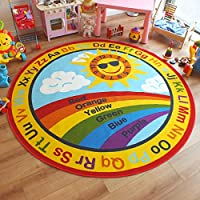 Superb Bright Kids/Childs Educational Rug Rainbow Alphabet Sun Large Round 2.0m x 2.0m (6
