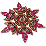 Handmade Elegantly Designed Pink Rangoli - With Diya Shaped Design Decorated With Stones And Beads On Pink Elongated Square Shaped Plastic Base - 5 Pieces Set - Packed In Transparent Pouch