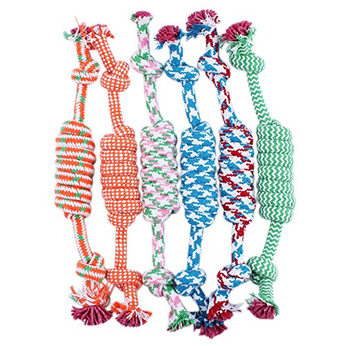 Sanwood 1Pcs Pet Dog Puppy Cotton Braided Bone Rope Chew Knotted Tied Toy - Random colour