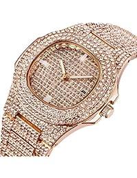 Mens Uhren, Luxury Brand Fashion Diamond Date Quartz Watch, Diamond Luxury Brand Watches Mens Stainless Steel Wristwatch