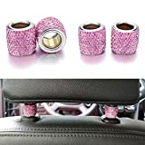 YINUO bague décoration Bling strass Universal en Chromé pour Appuie-tête et pour siège de voiture pour voiture SUV(4 pièces) (rose)