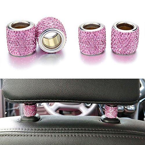 Preisvergleich Produktbild YINUO Universal Chrom Bling Kristall Kopfstütze Kopfstützen Halsbänder Auto Innendekoration Auto Zubehör für Auto LKW SUV Fahrzeug (4 Stück) (Rosa)
