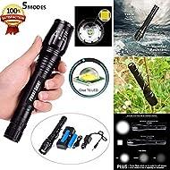winwintom 8000LM X800Zoomable XML T6LED Tactical Police Flashlight + 2Pcs 18650batterie + chargeur de voiture câble + Câble USB