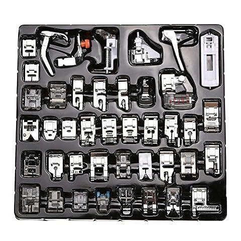 42 pcs Machine à coudre kit Pieds-de-biche multifonctionnel pour Machine à coudre domistique Ourlet Pied de pièces accessoires pour Brother Singer Lot de