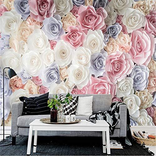 Wemall 3D Floral Garden Roses Benutzerdefinierte Fototapete Wandbild Wohnzimmer Sofa TV Hintergrund Wandverkleidung Papel De Parede, 400x280 cm (157.5 von 110.2 in) -