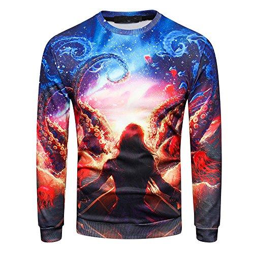 Binggong Herren Shirt,Räumungsverkauf!Gut aussehend HerrenShirt Pullover Mode Freizeit Fit Rundhals 3D Print Halloween Langarm Sweatshirt T-Shirt Top