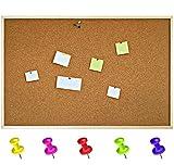 90 x 60 cm Pinnwand Korkwand Kork Memoboard | inkl. 5 Pinwandnadeln | Groß Korkpinnwand Korktafel Holzrahmen | Hergestellt in der EU | Ideal für Büro, Schule, Schlafzimmer und Heim