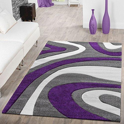 T & T Moderna Alfombra Pelo Corto | Salón Dormitorio Comedor | Suave de diseño, diseño de Ondas, Tamaños, Morado, 200 x 290 cm