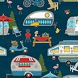 Caravan Stoff–Wohnwagen Flamingos