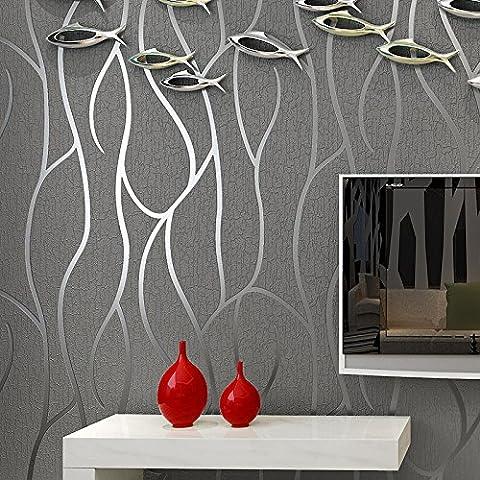 3D en trois dimensions papier peint non tissé télévision moderne minimaliste salon toile de fond la mode papier peint rayures velours épais , grey 57006