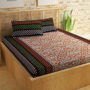 Story@Home Candy 120 TC Double Bedsheet with 2 Pillow Covers - Brown