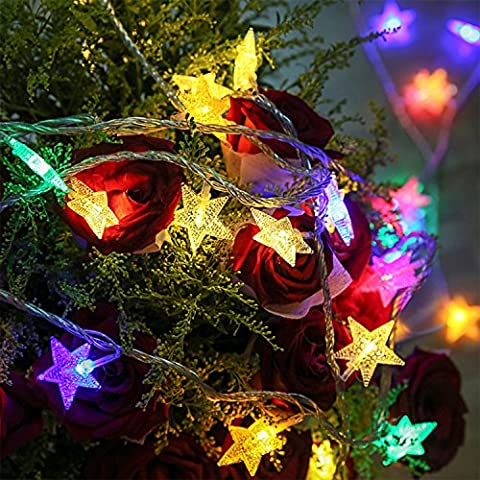 GPCT [Star Fairy] LED Crystal Clear [40 Clear Stars] String Light. 13 Foot Long, Great for Outdoor, Indoor, Christmas, Home, Parties, Decorations, Wedding, Garden, Patio, Bedroom, Festival (Color)