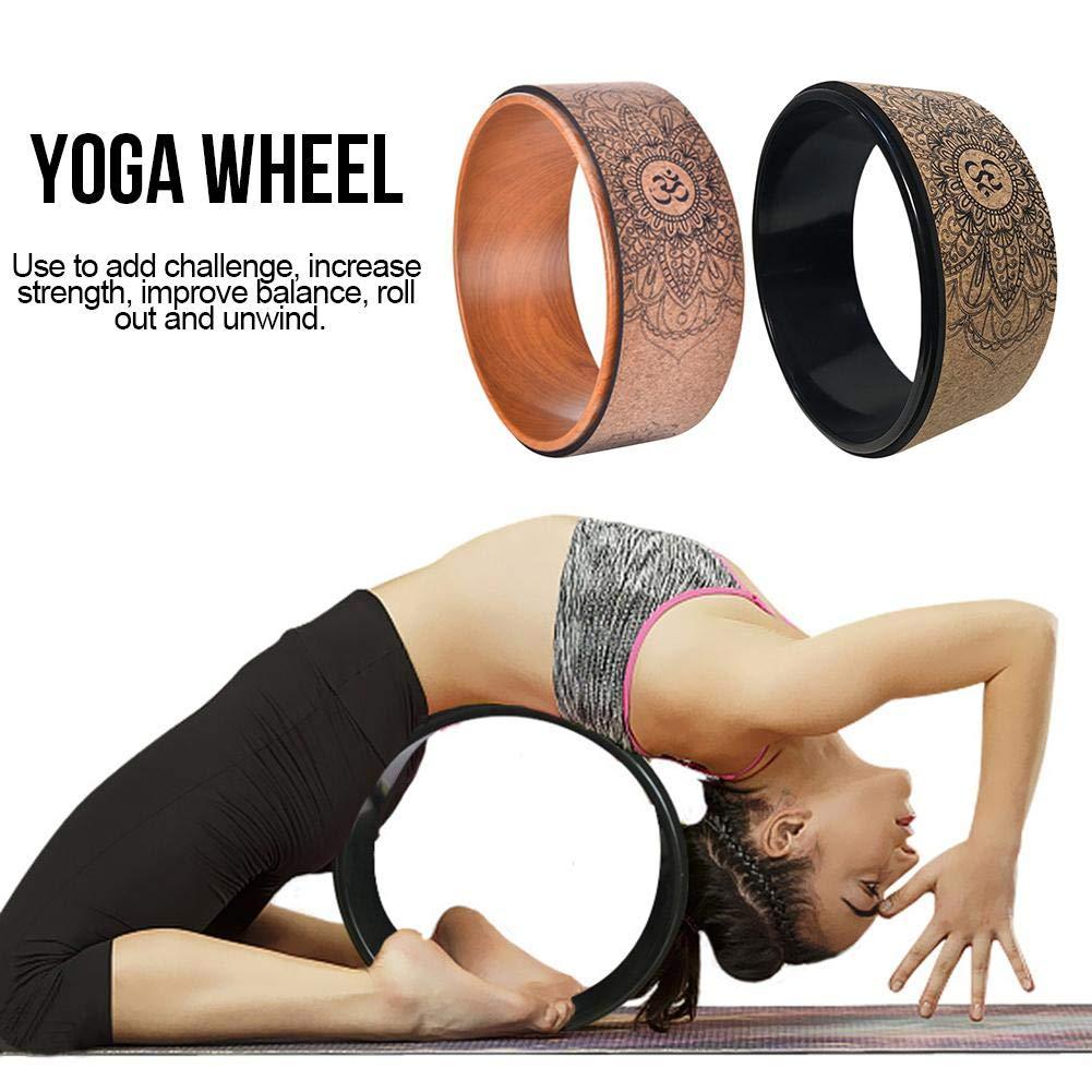 SOWLFE Kork-Yoga-Rad Bright Black//Holzmuster nat/ürliches Fitness-Rad Dharma-Yoga-Propellerrad Hohl Pilates Kreis Yoga-Zubeh/ör Verbesserung der R/ückenbiegungen Stretch f/ür Yoga-Praxis