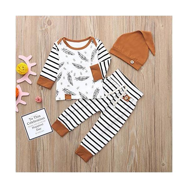 Trisee Ropa Bebe Niño Conjuntos Conjunto de Ropa de Rayas patrón de Plumas Mangas con Capucha Camisetas Recién Nacido… 3