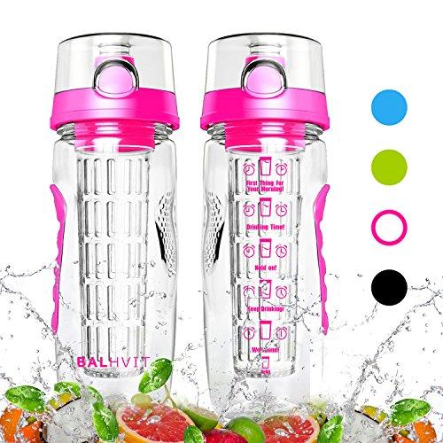 Balhvit Motivational Water Bottle, 946ml/32oz Leakproof Sports Water Bottle [BPA Free Tritan] Plastic Fruit Infuser Water Bottles with Time Markings, Safe Lock Design & Shatter Resistant Drinks Bottle