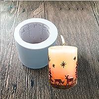 Arpoador – Moule en silicone cylindrique motif Noël pour savons, bougies, pâtisserie