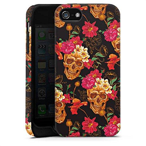 Apple iPhone X Silikon Hülle Case Schutzhülle Totenkopf Muster Blumen Tough Case matt