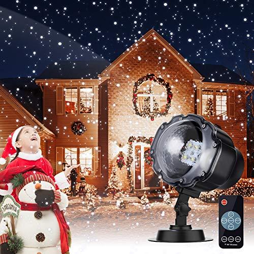 Proyector Navidad LED, Luces de Navidad con Control Remoto Impermeable Prueba de Agua, Conveniente para la Fiesta, de la Navidad, Cumpleaños, Valentín, Decoración Interior y Exterior (nieve)