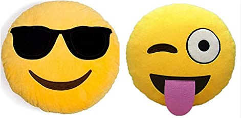 Set of 2 Adorable Emoji Plush Pillows Cool Dude & Wink for Those who just Love Emojis!