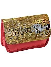Klimt Portrait Of Block-Bauer 2, Rojo Escuela Niños Sublimación Alta calidad Poliéster Estuche de lápices con Diseño Colorido. 21x13 cm.