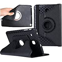 Tab E 8.0 TPU case Cover,elecfan 360 Degrees Rotating Stand Removable PU Leather Case Protective Flip Folio Detachable Soft Rubber Cover for T377 8.0 inch Tablet (Tab E 8.0, Black)