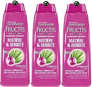 Garnier - Fructis Matière & Densité - Shampooing fortifiant Cheveux en manque de densité volume - Lot de 3