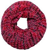 Intermoda Strick Loop Schal I Wolloptik Grobstrick I Mehrfarbig Gestrickt I Multicolour Strickmuster I Damen Pink Rosa Koralle