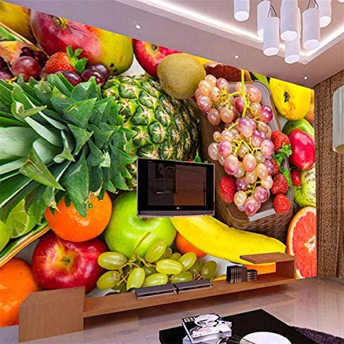 YTTBH Selbstklebendes Wandbild (B) 300X (H) 210Cm 3D Frisches Obst Ladenwandbild Gemüsemarkt Supermarkt Kaltes Getränk Eistee Laden Dessert Cafe Obstladen Und Gemüse Kinderzimmer Restaurant