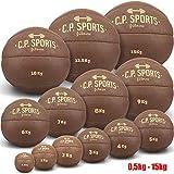 C.P.Sports Medizinball Leder braun K5, Gewichtsball, Original Medizinbälle, Crossfit Ball, Gymnastikball - 0,5 kg, 1 kg, 2 kg, 3 kg, 4 kg, 5 kg, 6 kg, 7 kg, 8 kg, 9 kg, 10 kg, 12,5 kg, 15 kg