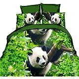 hansee® Lovely Panda 3d Cute Animal Print Funda de edredón de sábana bajera ajustable fundas de almohada de color verde