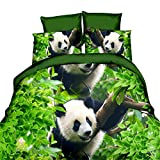 Hansee® Lovely Panda 3d Cute Animal Print Funda de edredón sábanas fundas de almohada color verde