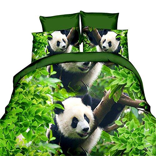 hansee Lovely Panda 3d Cute Animal Print Funda Nórdica Sábana Bajera Ajustable fundas de almohada verde
