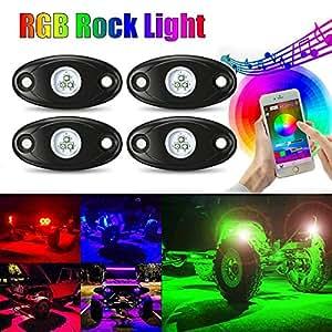 ambother LED illuminazione 4Pods Mucolor Neon Kit Luce LED RGB con Bluetooth controller Timing funzione modalit Musica per Auto Truck esterno 4Wheeler ATV SUV Mine Boot motociclo impermeabile antiurto
