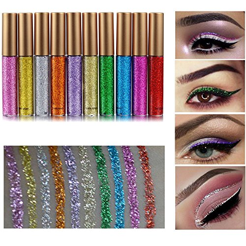 Rechoo Glitter Liquid Eyeliner Set 10PCS langlebig wasserdicht Sekt Eyeliner Lidschatten Pen - 10er Set (10PCS)