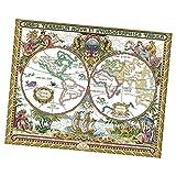 FLAMEER Kreuzstich Set- Alte Weltkarte vorgezeichnet mit Stickgarn und Anleitung zum Selbersticken