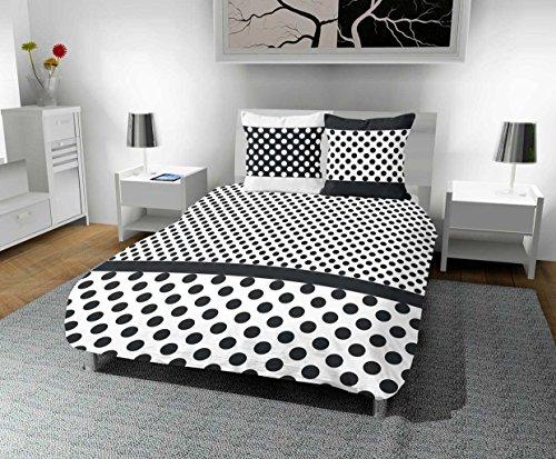 Intemporel–Juego de cama (algodón, funda nórdica de 240x 220cm lunares, poliéster, gris, 240x 220x 1cm