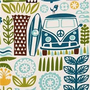 Tissu bio Birch Ipanema, palmiers, bus, planche surf bleu