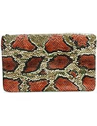 Clutch Marrón Estampado Snake bolso de mano con textura serpiente escamada en color estampado de varios
