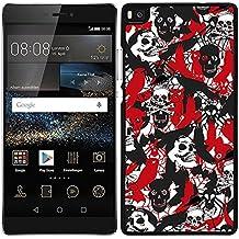 Funda carcasa para Huawei P8 Lite estampado sticker bomb calavera rojo negro y blanco borde negro