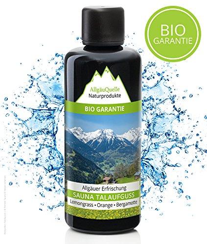 Saunaaufguss mit 100% BIO-Öle Erfrischung Lemongrass Orange Bergamotte (100ml). Natürlicher Sauna-aufguss m. ätherische Sauna-Öle im Aufguss-Mittel. Saunaöl natrurrein und biologisch. Saunaduft