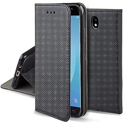 Coque Samsung Galaxy J5 2017 a rabat Noir - Housse Étui fin Smart magnétique de Moozy® avec Stand pliant et support de téléphone en silicone