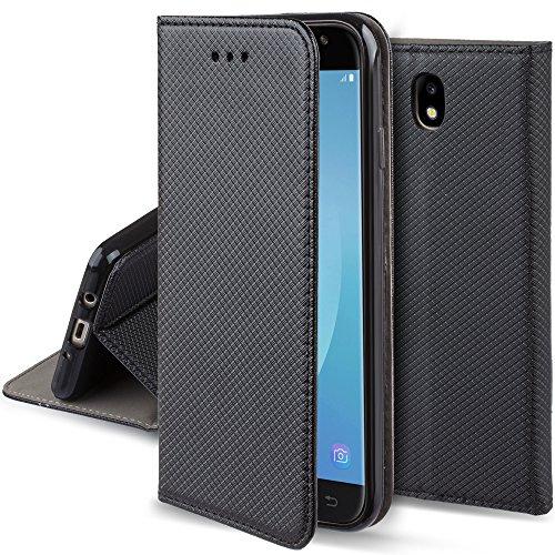 Moozy Cover Custodia a Libro per Samsung J7 2017, Nero - Flip Smart Magnetica con Funzione di Appoggio