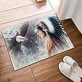 Aliyz Stammes-Mädchen und wildes Tier Adler Hause Hotel Zimmertür Badezimmer Schlafzimmer Küche Wohnzimmer Kinderteppich rutschfestes Material Flanell 40x60cm