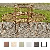 CLP Banc de Jardin Rond PEMA avec Dossier en Métal Verni - Banquette en Style Campagnard Ø 60 cm (Intérieur) 150 cm (Extérieur) - Banc Arbre Circulaire 360 ° Marron Antique