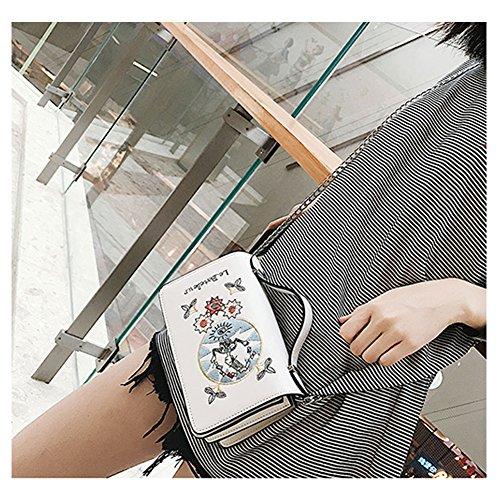 Yoome Alley Style Flap Tasche Elegant Emroidery Tiny Zickzack Falten Make-up Kette Handtaschen - Weiß Weiß