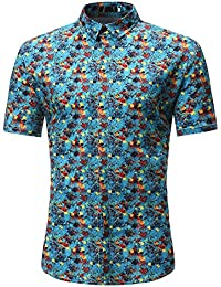 CICIYONER Florida Herren Sommer Regular Fit Kurzarm Shirts  Segelschiff Vogel Blumen Flamingos  c800bcd0a5b