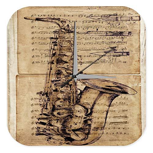 Wanduhr Star Deko Saxophon Musikinstrument Acryl Fun Uhr Vintage Retro