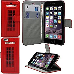 Sleek Gadgets® - Red London Telephone Box Leather Wallet Case Cover for Apple iPhone 6 (4.7'')